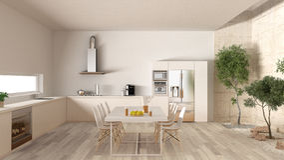 Weiße Küche mit innerem Garten, minimale Innenarchitektur Stockbild