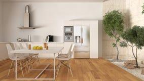 Weiße Küche mit innerem Garten, minimale Innenarchitektur Lizenzfreies Stockfoto