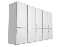 Weiße Kühlschränke Stockbild