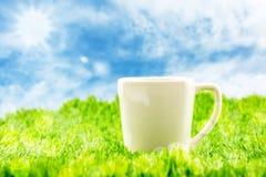Weiße Kaffeetasse auf grünem Gras mit blauem Himmel und Sonnendurchbruch mit Stockbilder