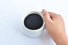 Weiße Kaffeetasse auf weißem Hintergrund Stockbilder