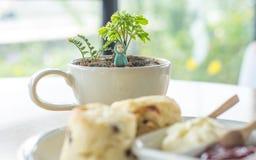 ` Weiße Kaffeetasse mit wenigem Baum und kleiner Puppe lizenzfreie stockfotos