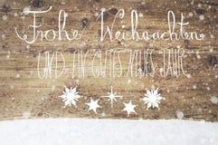 Weiße Kalligraphie Gutes Neues bedeutet guten Rutsch ins Neue Jahr, Schneeflocken Lizenzfreie Stockbilder