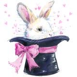 Weiße Kaninchenillustration mit Spritzenaquarell maserte Hintergrund Ungewöhnliche Illustration Lizenzfreie Stockfotografie