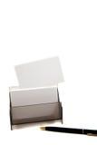 Weiße Karte auf einem Kasten (Platz für Text) Lizenzfreie Stockfotos