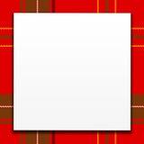 Weiße Karte auf rotem Plaid Lizenzfreie Stockfotos