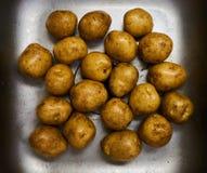 Weiße Kartoffeln in der Wanne 2 stockbilder