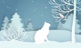Weiße Katze des Winters schneebedeckter Wald, dieeinen Dompfaff betrachtet Vektor Lizenzfreie Stockfotografie