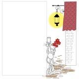 Weiße Katze im Zylinder, der rote Blumen anhält Lizenzfreies Stockbild