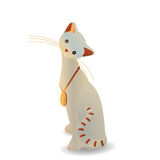 Weiße Katze mit einer Medaille Lizenzfreies Stockbild