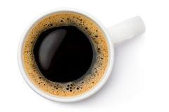 Weiße keramische Kaffeetasse. Draufsicht. Stockfotos