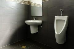 Weiße keramische Wanne und Urinal lizenzfreie stockbilder
