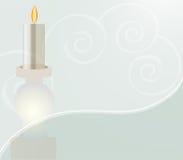 Weiße Kerze auf gewirbelter Auslegung Lizenzfreies Stockfoto