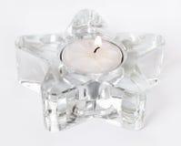 Weiße Kerze im Stern stockfotos