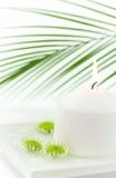 Weiße Kerze und sich hin- und herbewegende Blumen Stockbild