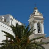 Weiße Kirche mit Palme Stockbilder