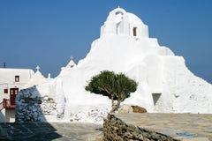 Weiße Kirche in Mykonos Stockbild
