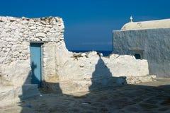 Weiße Kirche in Mykonos Lizenzfreie Stockfotografie
