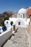 Weiße Kirche in Santorini Lizenzfreies Stockfoto