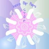 Weiße Konturen von Flipflops und Abdruck Weiße Mandala der Sommerrunde Weiche blaue und rosa Steigungsflüssigkeitsfarbe bildet Hi lizenzfreie abbildung