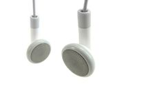 Weiße Kopfhörer. Stockbild