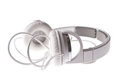 Weiße Kopfhörer Lizenzfreies Stockbild