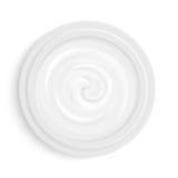 Weiße Kosmetikcreme in der Draufsicht des Paketbehälters Kosmetisches Produkt für Gesichtshautpflege Auch im corel abgehobenen Be stock abbildung