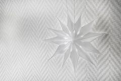 Weiße Kraftpapierblume oder -schneeflocke lokalisiert auf Pastellhintergrund mit Kopienraum Stockbild