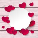 Weiße Kreis-Herz-rosa Holz stock abbildung