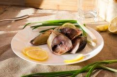 Weiße Kreisplatte der geräucherten Makrele stockfotos