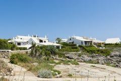 Weiße Landhäuser, Menorca, Spanien Stockbild