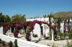Weiße Landhäuser und Bögen von violetten Blumen auf dem Gebiet von Th Stockfoto