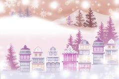 Weiße Landschaft des schneebedeckten Stadtzentrums - grafische Beschaffenheit von Malereitechniken Stockbild