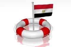 Weiße Lebenboje mit Markierungsfahne von Ägypten Stockfotos
