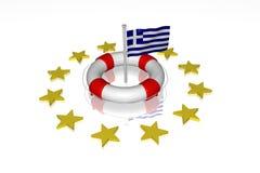 Weiße Lebenboje mit Markierungsfahne von Griechenland Stockbilder