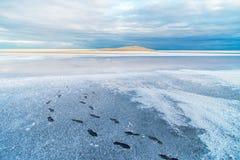 Weiße leere Landschaft von Salzsee mit menschlichen Abdrücken Lizenzfreie Stockfotografie