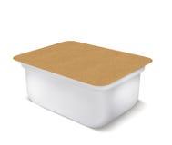 Weiße leere Plastikbank für Lebensmittel, Öl, Majonäse, Margarine, Käse, Eiscreme, Oliven, Essiggurken, Sauerrahm mit eco Papiera stockbild