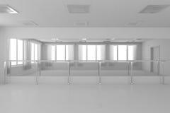 Weiße leere Trainingstanzhalle mit flachen Wänden, weißer Boden und vektor abbildung