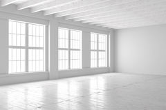 Weiße Leerstelle des Studios oder des Büros Stockbilder