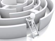 weiße Leute 3d in einem Labyrinth mit weißer Treppe Stockfotografie