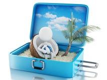 weiße Leute 3d in einem Reisekoffer Setzen Sie Ferien auf den Strand Stockfotos