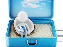 weiße Leute 3d in einem Reisekoffer Setzen Sie Ferien auf den Strand Stockfotografie