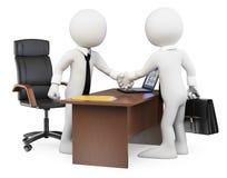 weiße Leute 3D. Geschäftsvereinbarung Stockbild