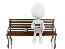 weiße Leute 3d gesetzt auf einer Bank mit seinem Material Lizenzfreies Stockfoto