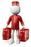 weiße Leute 3D. Hotelpage mit zwei Koffern Lizenzfreies Stockfoto