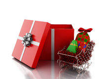 weiße Leute 3d innerhalb einer Geschenkbox Weihnachtsniederlassung und -glocken Stockfoto