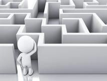 weiße Leute 3d mit einem Labyrinth Lizenzfreie Abbildung