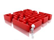 weiße Leute 3d mit einem roten Labyrinth Stockbild