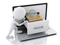 weiße Leute 3d mit Laptop und Ordnern Lizenzfreie Stockbilder