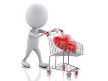 weiße Leute 3d mit rotem Herzen im Warenkorb Stockbilder
